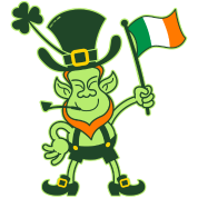Proud Leprechaun Waving an Irish Flag
