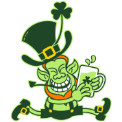 Green Leprechaun Running with Beer