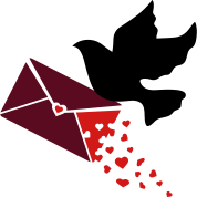 A carrier pigeon with a love letter