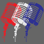 Red White and Blue Microphone in a classic design