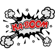 KABOOM, comic speech bubble, cartoon, explosion