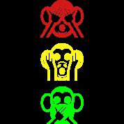 Three Wise Monkeys Emoticon Vertical