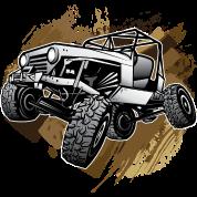 Off-Road Mudding White Jeep