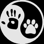 ying yang human hand dog paw
