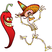 Hot Chili Pepper Nightmare for a Mexican Skeleton