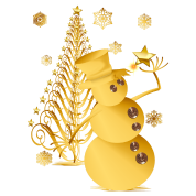 Gold Christmas Snowman and Star Tree