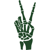 Hand Peace Sign Skeleton