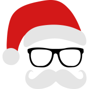 Funny Santa Claus with nerd glasses and mustache
