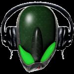 Green Reptoid Alien Pissed Off DJ in Headphones