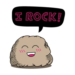 I rock cute cartoon rock humor - Contrast Coffee Mug | Rusty Doodle