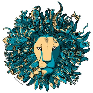Blue and Yellow Lion