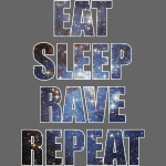 Eat Sleep Rave Repeat EDM Stars Design