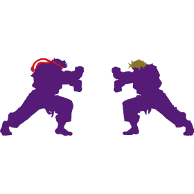 Ryu and Ken Hadouken Silhouettes