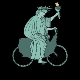 statue of liberty riding USA bike