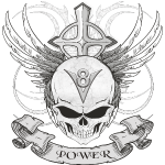V8 logo with skull in tattoo style