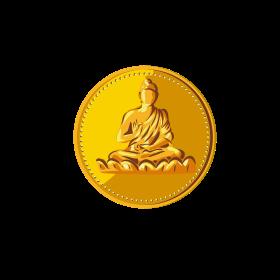 Buddha Gold Coin Medallion Retro