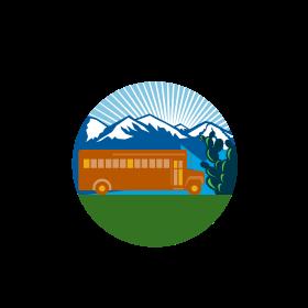 School Bus Vintage Cactus Mountains Circle Retro