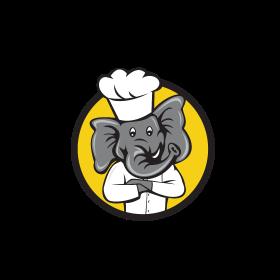 Chef Elephant Arms Crossed Circle Cartoon