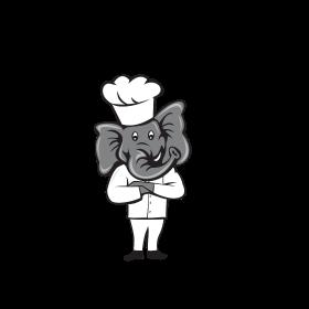 Chef Elephant Arms Crossed Standing Cartoon
