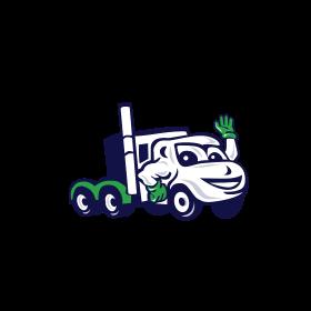 Semi Truck Rig Waving Cartoon
