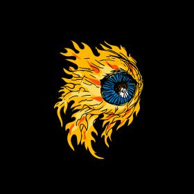 Flaming Eyeball On Fire Drawing