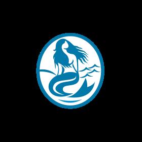 Mermaid Siren Sitting Singing Oval Retro
