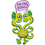 Two-headed monster defining who the boss is