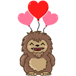 Cute Valentine Sasquatch Bigfoot Heart Balloon
