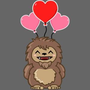 Cute Valentine Sasquatch Bigfoot Heart Balloons