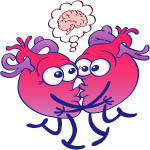 Hearts in love thinking too much when kissing