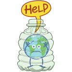 Earth inside a plastic bottle asking for help