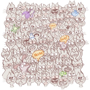 Funny cats posing in a meowing pattern