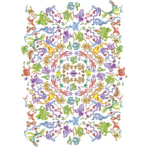 Crazy monsters posing for a colorful pattern