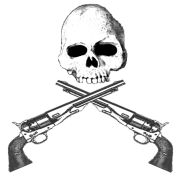 B&W Skull w Sixguns