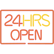 neon sign: 24 HRS