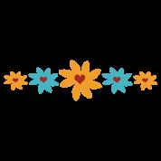 Big Petal Heart Flowers, 5 In A Row