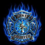 Maltese Cross w/ Blue Flames