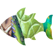 collage art FISH (greens)