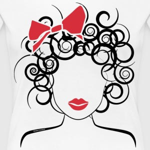 Curly Girl with Red Bow_Global Couture_logo Women' - Women's Premium T-Shirt
