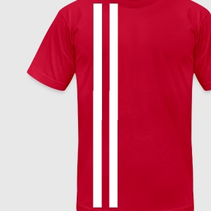 white line red shirt T-Shirts - Men's T-Shirt by American Apparel