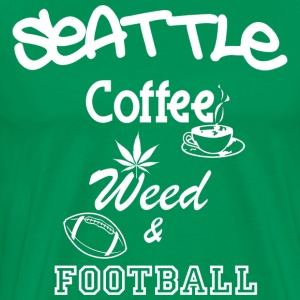 Seattle Coffee Weed and Football T-Shirt - Men's Premium T-Shirt