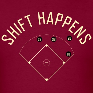 Shift Happens (Burgundy/Cream) - Men's T-Shirt