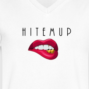 White HitEmUp  V-Neck - Men's V-Neck T-Shirt by Canvas