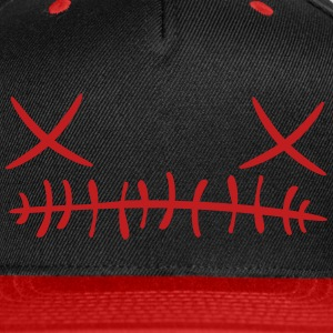 Cross stitch Face Cap (Red) - Snap-back Baseball Cap