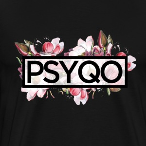 Floral Print (PsyQo Text Black) - Men's Premium T-Shirt