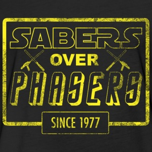 Sabers Over Phasers (Stressed) - Fitted Cotton/Poly T-Shirt by Next Level