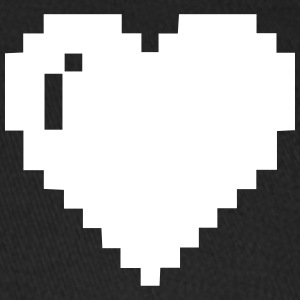 White 8-bit Heart - Baseball Cap