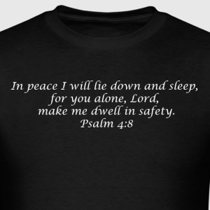Psalm 4:8 - Mens T - White Font - Men's T-Shirt