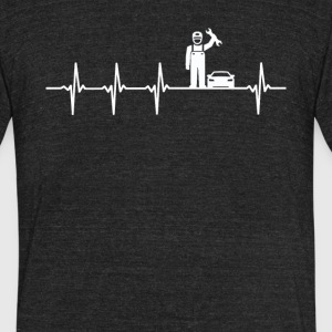 Car Mechanic Job Heartbeat Love - Unisex Tri-Blend T-Shirt by American Apparel