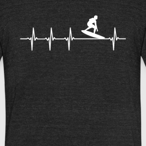 Surfing Sport Heartbeat Love - Unisex Tri-Blend T-Shirt by American Apparel